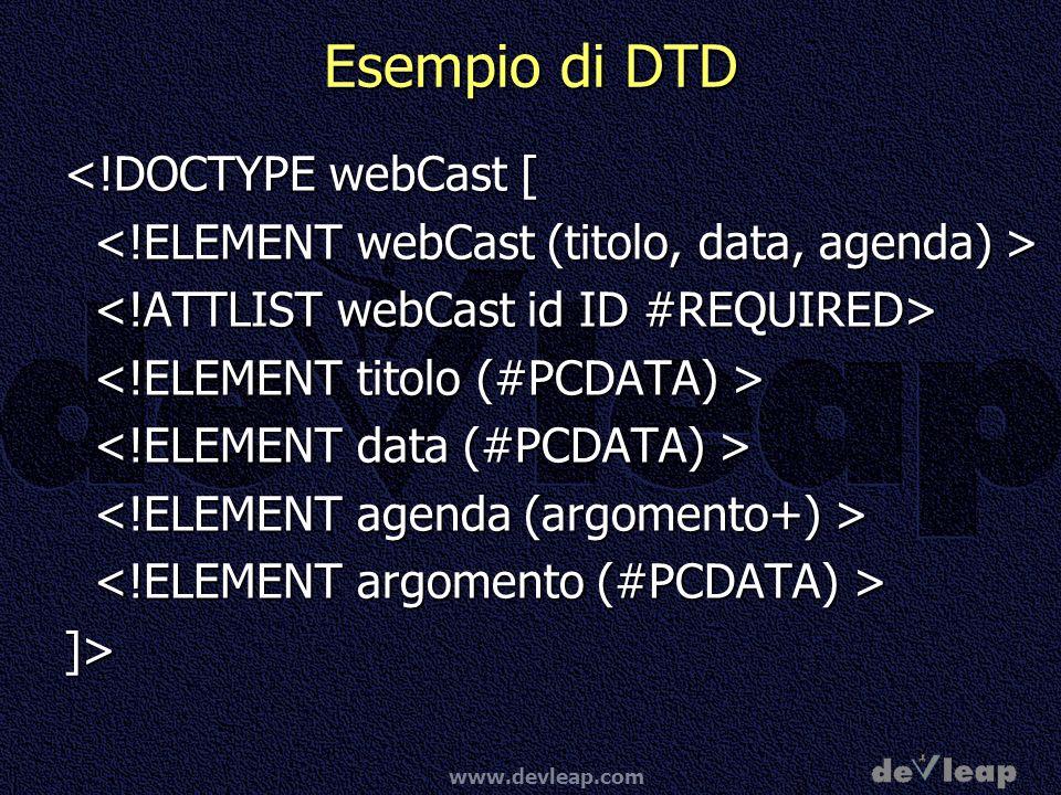 Esempio di DTD <!DOCTYPE webCast [
